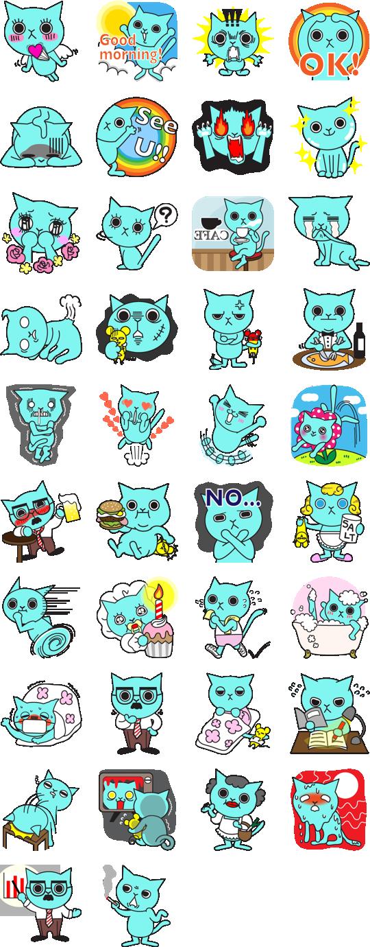 sticker แมว สี ฟ้า sticker duck dynasty