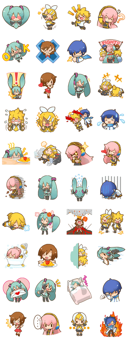 Sticker ไลน์ - 1349 Hatsune Miku All Together