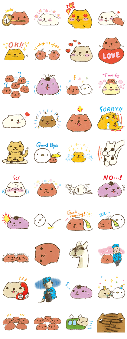 sticker2783 KAPIBARA-SAN & Friends2