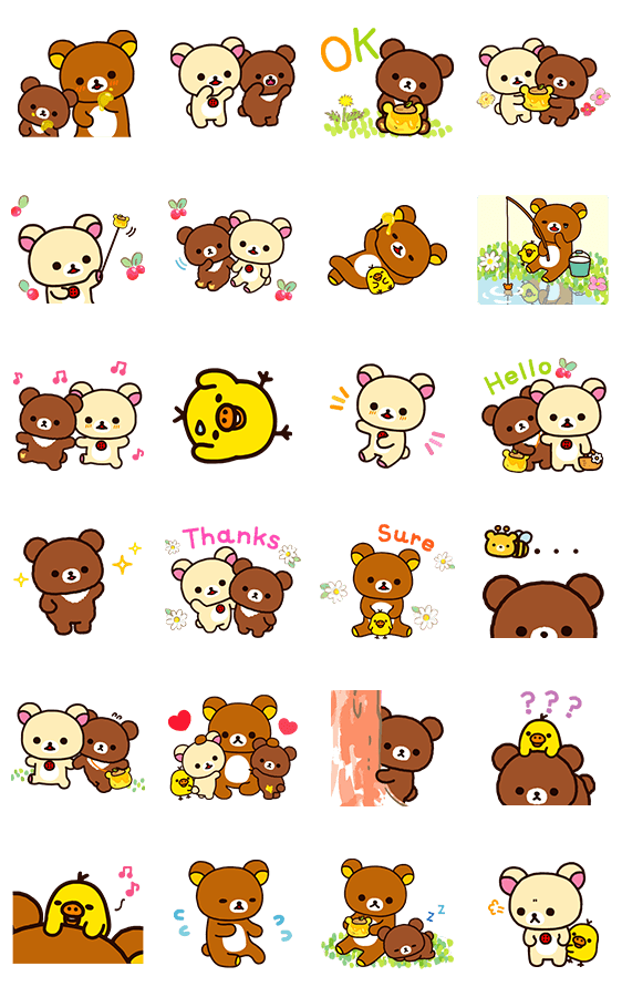 Sticker6044-Rilakkuma-Korilakkuma with a new friend [ดุ๊กดิ๊ก]